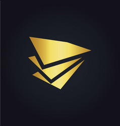 paper shape data business finance gold logo vector image vector image