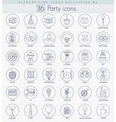 Party Outline icon set Elegant thin line vector image