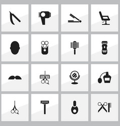Set of 16 editable tonsorial artist icons vector