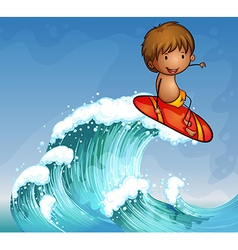 A boy surfing in the waves vector image vector image