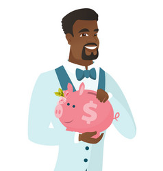 African-american groom holding a piggy bank vector