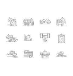 Agricultural machinery linear icons set vector image