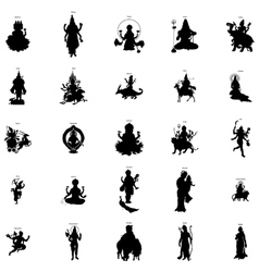 Indian gods silhouette set simple style vector