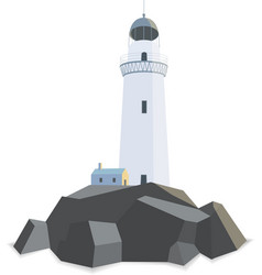 Lighthouse with house on rocks isolated flat vector image