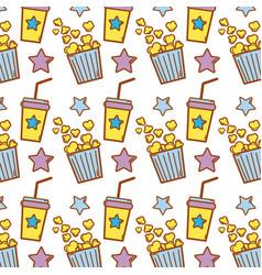 Popcorn and soda beverage to cinema eat vector