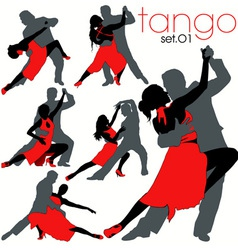 tango silhouettes set vector image vector image