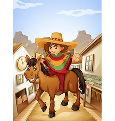 A young man with his horse strolling at the vector image vector image