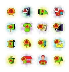 Advertisement set icons comics style vector image vector image
