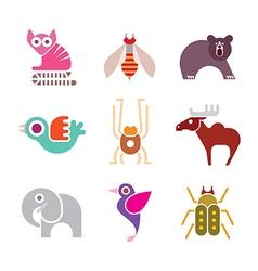 animal icon set vector image vector image