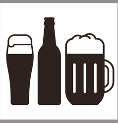 beer mugs and bottle vector image vector image