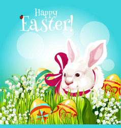 easter rabbit and egg in green grass greeting card vector image