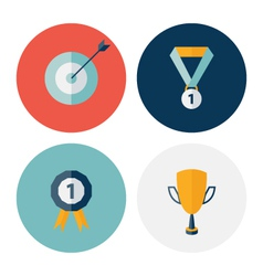 Flat circle career success icons set vector image vector image