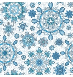 Floral seamless pattern with stylized snowflakes vector image vector image