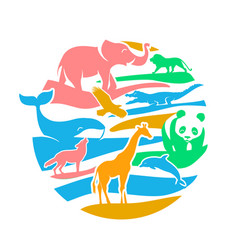 icon in the form of animal silhouettes vector image