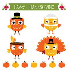 Thanksgiving set - cute owls vector image vector image