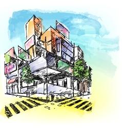 Watercolored Building vector image