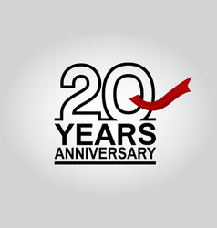 20 years anniversary logotype with black outline vector