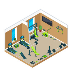 3d isometric of gym with different vector