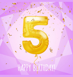5 birthday greeting card golden balloon and vector