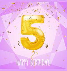5 birthday greeting card golden balloon vector image