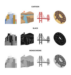 A megacity a grand canyon a golden gate bridge vector