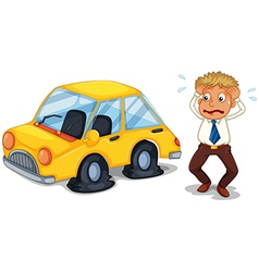 A worried man beside a car with flat tires vector image vector image
