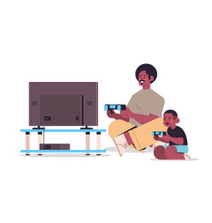 African american father playing video games on vector