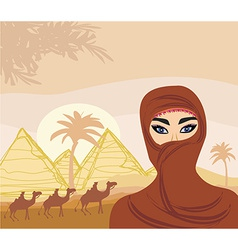 Arabian woman in the desert vector image