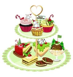 Baked goods arranged in tray vector