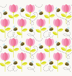 bee and flowers summer pattern seamless floral vector image