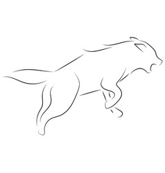black line wolf on white background hand drawn vector image
