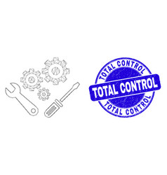 Blue grunge total control stamp seal and web vector