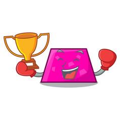Boxing winner trapezoid mascot cartoon style vector