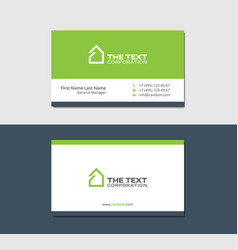 Business Cards Template With Mansion Green Color Vector