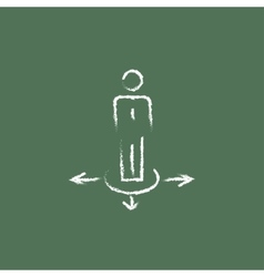 Businessman on three ways icon drawn in chalk vector