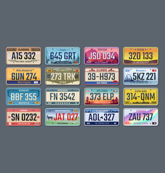 Car plates american registration numbers of vector