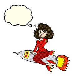 cartoon army pin up girl riding missile with vector image
