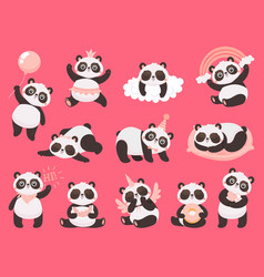 cartoon cute panda little baby pandas adorable vector image