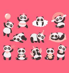 cartoon cute panda little bapandas adorable vector image