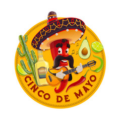 Cinco de mayo icon mariachi chili pepper vector