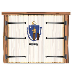 Closed barn door with massachusetts state flag vector