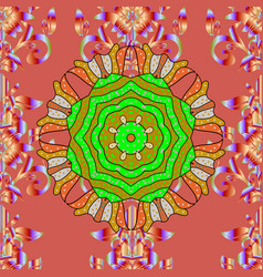 colored mandala shape on a pink yellow and green vector image