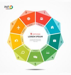 Colorful infographic template with circle chart 9 vector