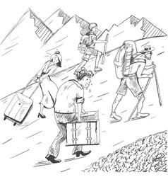 Comic strip tired travelers climb a mountain vector