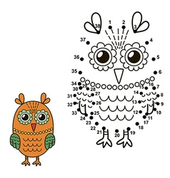 Connect dots to draw cute owl vector