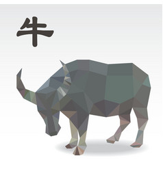 Cow polygon origami zodiac vector image