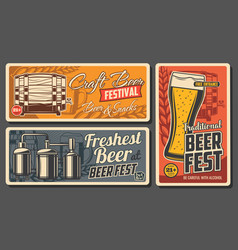 Craft beer and snacks posters vector