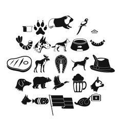 cur icons set simple style vector image