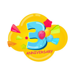 cute cartoon template 3 years anniversary vector image