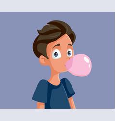 Cute teenage boy chewing bubble gum vector